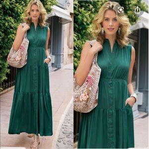 Soft Surroundings Green Trieste Dress Petite M